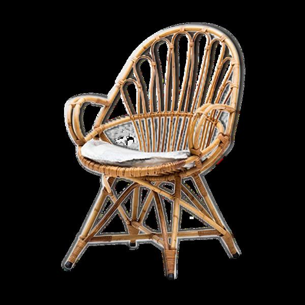 Fuateuil en rotin, design hollandais, années 1950