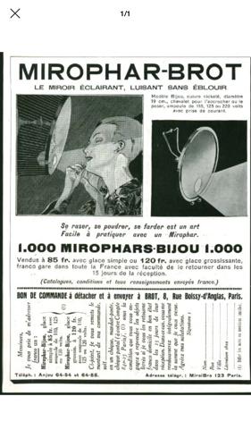 Miroir vintage 1940 barbier Mirophar Brot - 26 cm