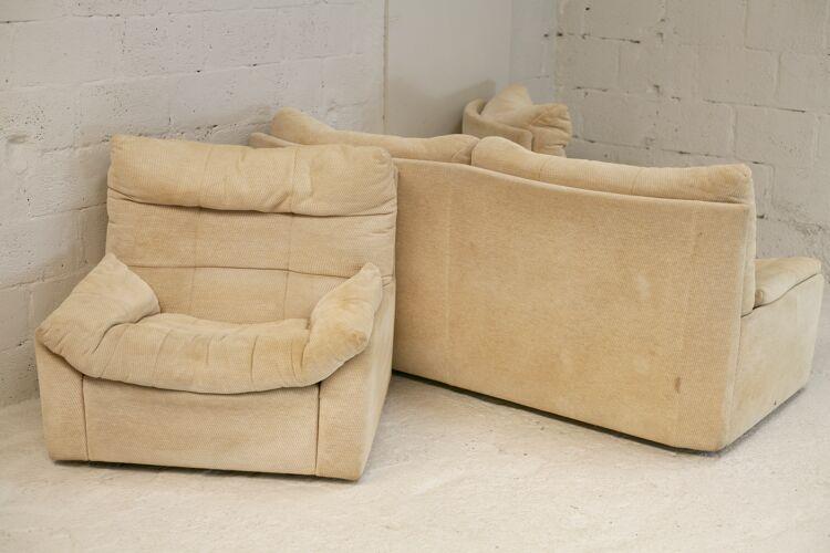 Ensemble canapé et paire de fauteuils de Michel Ducaroy, édition Roset, modèle Dianthus, France, 1978