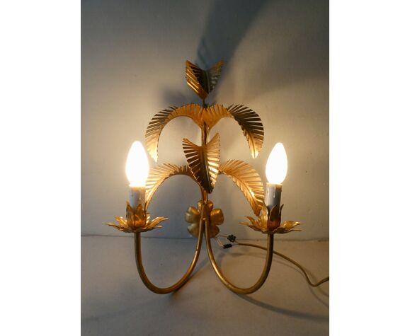 Paire d'appliques palmier en métal doré, années 70