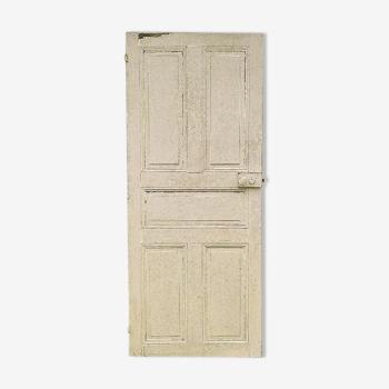 Ancienne porte intérieur bois peint poignée porcelaine vintage N°5