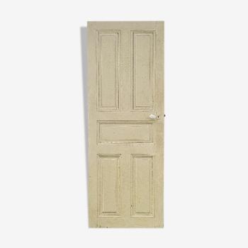 Ancienne porte intérieur bois peint vintage poignée porcelaine N°1