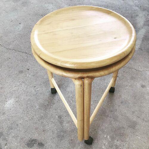 Desserte en bois ronde sur roulettes