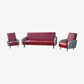 Canapé et 2 fauteuils vintage 1950-1960