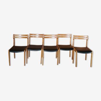5 chaises en skai noir vintages