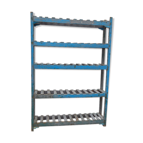 Etagère bleue meuble haut étroit 5 tablettes teck