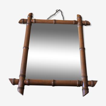 Miroir vintage bambou bois tourné chaînette
