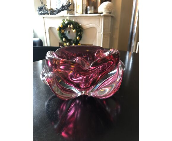 Cendrier en verre rose Murano