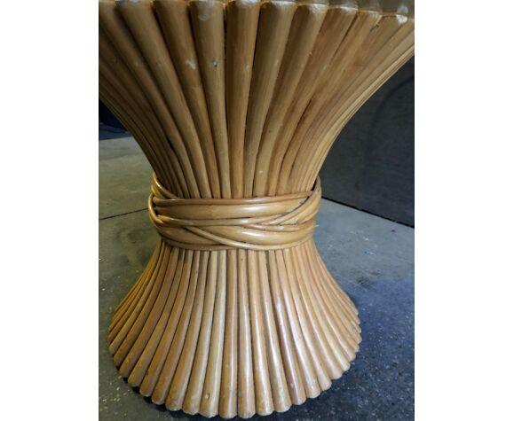 Table basse fagot de bambous era  Gabriela Crespi vintage 1970