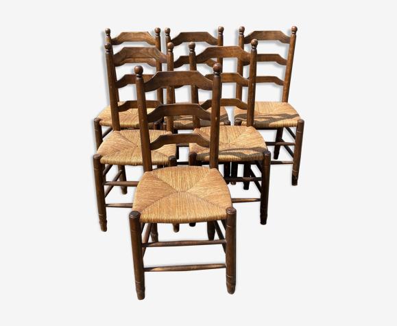 Série de 6 chaises pailles