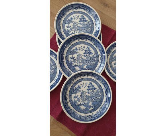 6 assiettes vintage anglaises stafford shire motif asiatique