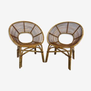 Paire de fauteuil en rotin, France années 60