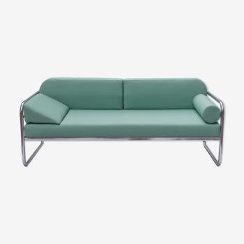 Canapé tubulaire en acier chromé Bauhaus par Robert Slezak