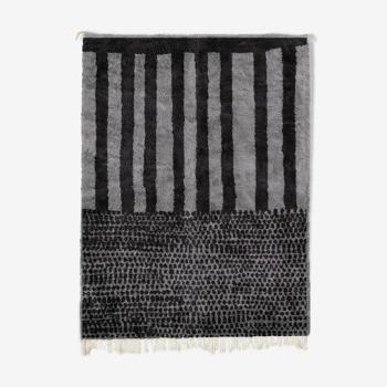Tapis marocain moderne gris art contemporain 300x370cm