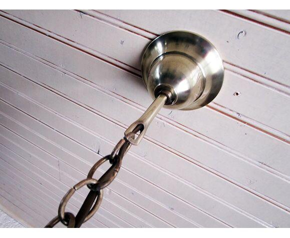 Suspension coupole en verre satiné et laiton
