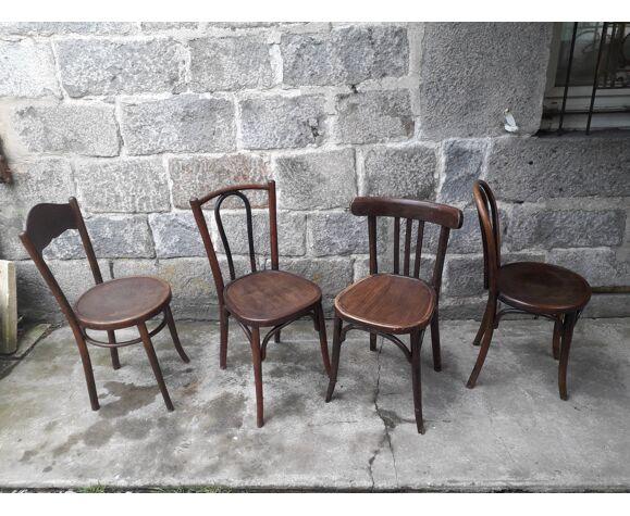 Chaises bistrot dépareillées, set de 4