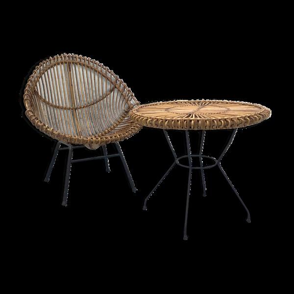 Fauteuil et table en rotin années 60