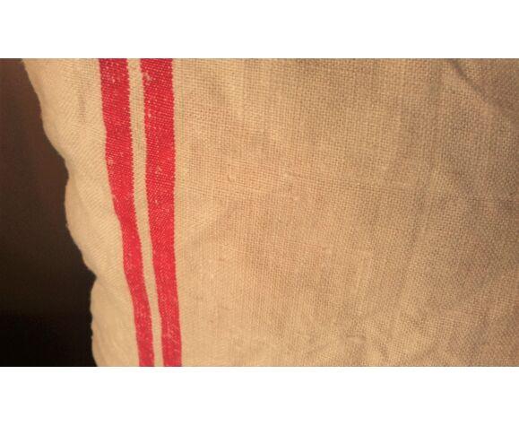 Coussin chanvre ancien bandes rouges