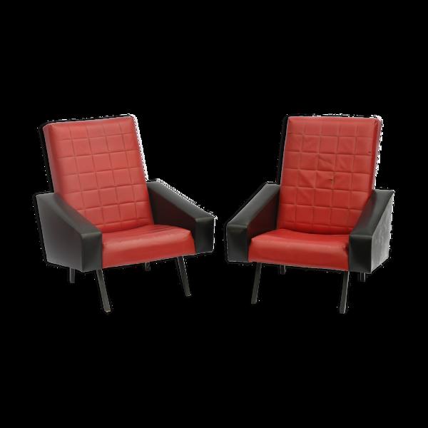 Paire de fauteuils vintage cuir noir et rouge