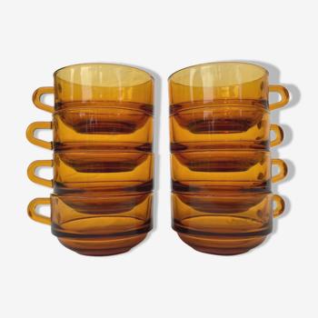 Ensemble de 8 tasse à café Duralex couleur ambrée
