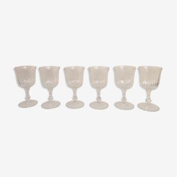 Set de 6 verres à pied en verre ciselé