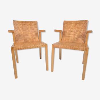 2 fauteuil en hêtre et rotin