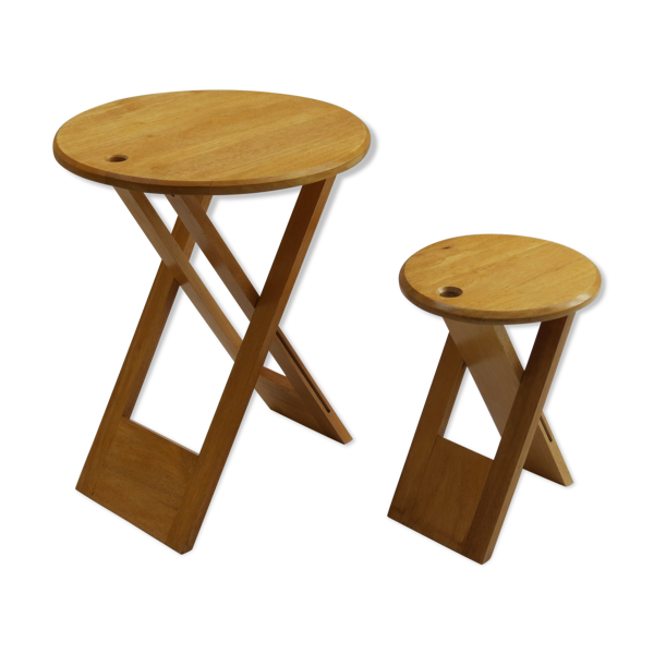 Selency Tabouret et table en bois pliants vintage