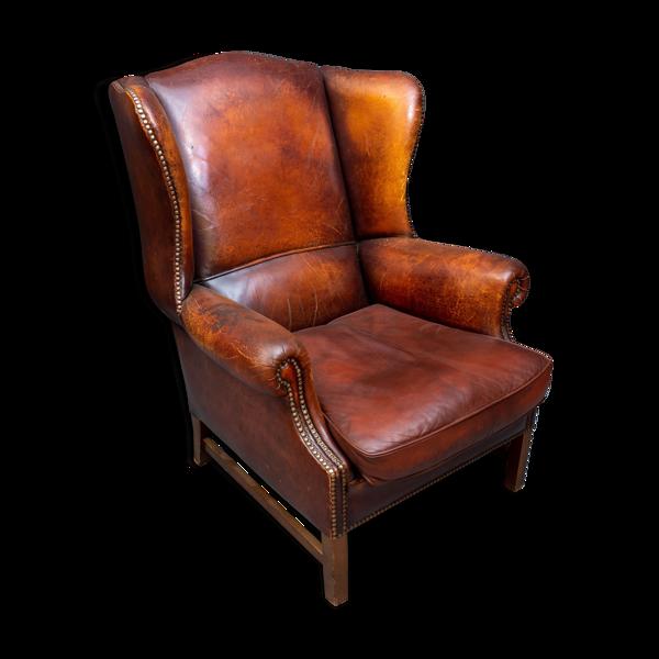 Selency Fauteuil en cuir brun