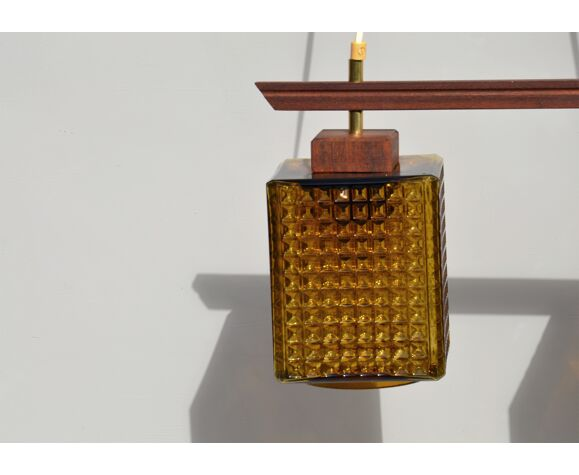 Suspension vintage scandinave en verre fumé et teck, Orrefors, années 60