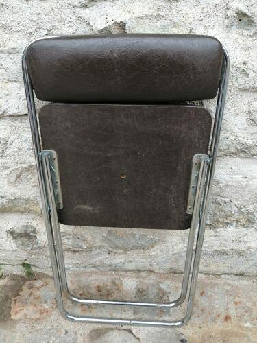 Chaise pliante skaï marron