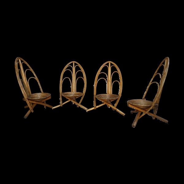 Set de 4 fauteuils en rotin et bois