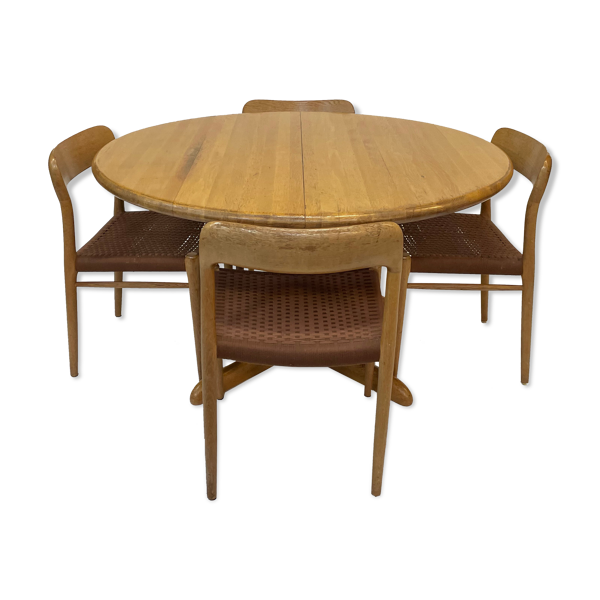 Niels Moller vintage Danish design dining room - extension table with 6x chairs model 75
