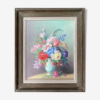 """Tableau """"Bouquet de fleurs au vase"""" HST signée C Barnier + cadre"""
