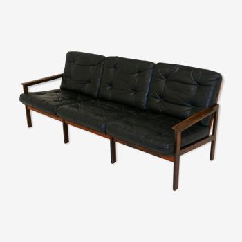 """Leather sofa """"Capella Model 4"""", Illum Wikkelso for Niels Eilersen, Denmark, 1960"""