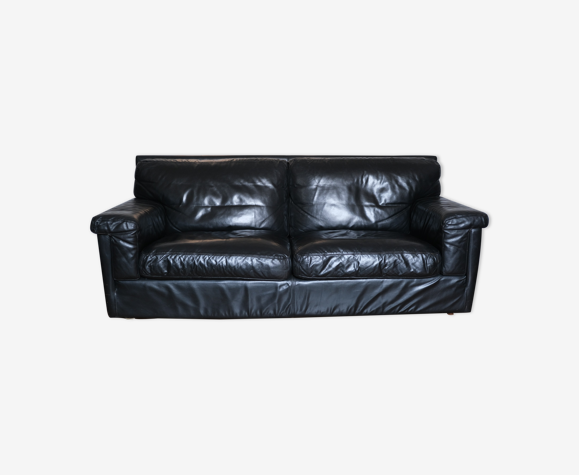 Canapé en cuir noir Duvivier