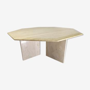 Travertine marble hexagonal coffee table