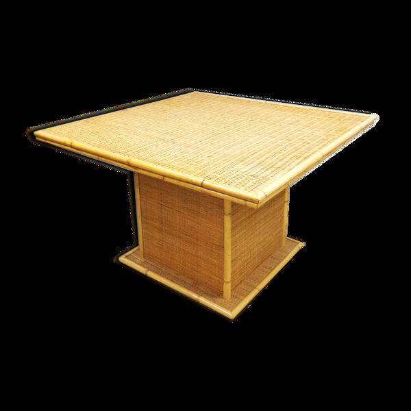 Selency Table à manger en bambou de rotin vintage