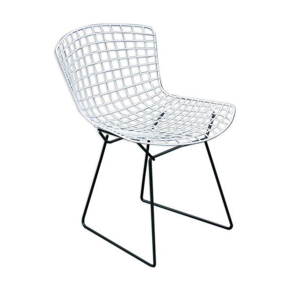 Selency Chaise Wire noire et blanche de Harry Bertoia edition Knoll