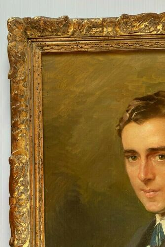 Henry Emile Vollet huile sur toile portrait autoportrait jeune homme