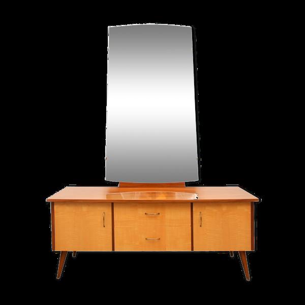 Selency Coiffeuse en bois plaqué avec miroir, années 1950