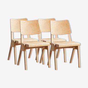 Lot de 4 chaises en hêtre massif, avec pieds compas, circa 1950