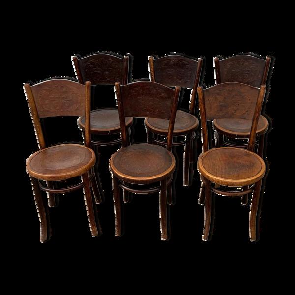 Set de 6 chaises bistrot début XX Joseph Hoffmann Austria Bielitz (Berthold Kahn - Bale  - Suisse)