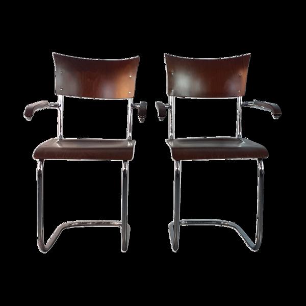 Selency Paire de chaises en noyer design Mart Stam édition Mücke Melder 1930 Tchécoslovaque