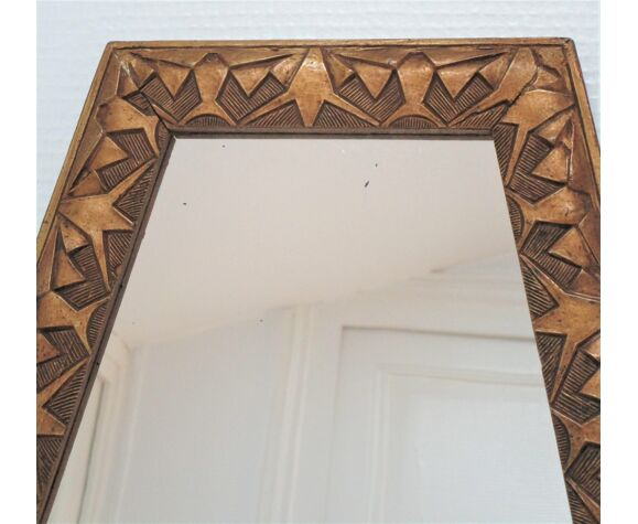 Miroir ancien hexagonal patiné bois et stuc doré style art déco