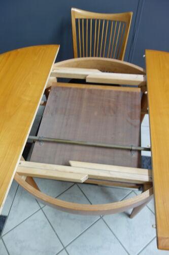 Table en bois blond avec feuille de papillon et 4 chaises des années 1960