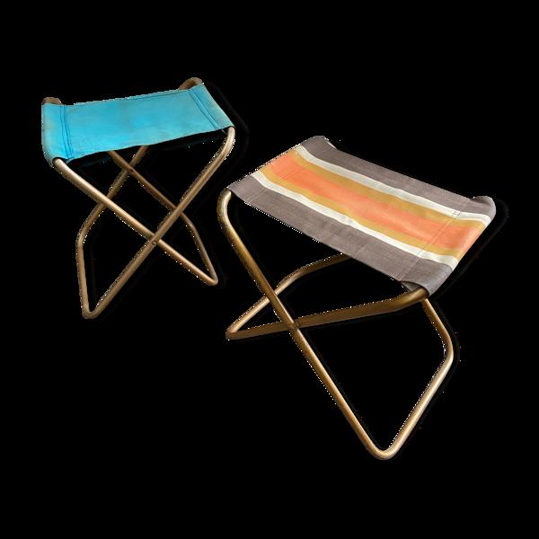 Paire de sièges de camping vintage pêche pliant des années 60/70