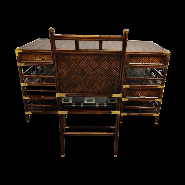 Bureau et chaise en bois incrusté, années 1960