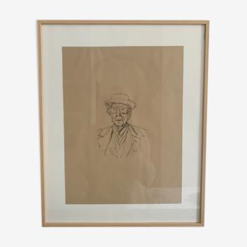 Original portrait sketch of architect Franck Loyd Wright