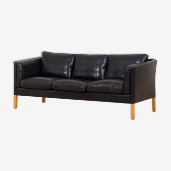 Danish Stouby sofa in thick black aniline leather