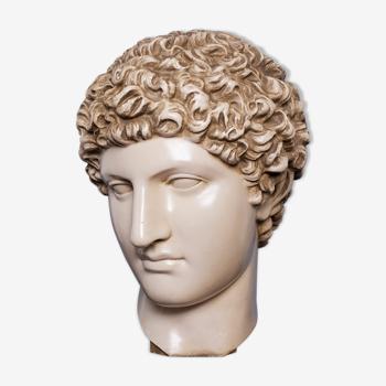 Tête romaine en plâtre ciré